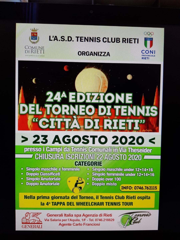 """AI NASTRI DI PARTENZA LA 24° EDIZIONE DEL TORNEO DI TENNIS """"CITTA DI RIETI"""""""