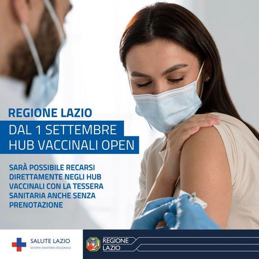 Covid: nella Regione Lazio dal 1 settembre Hub vaccinali open
