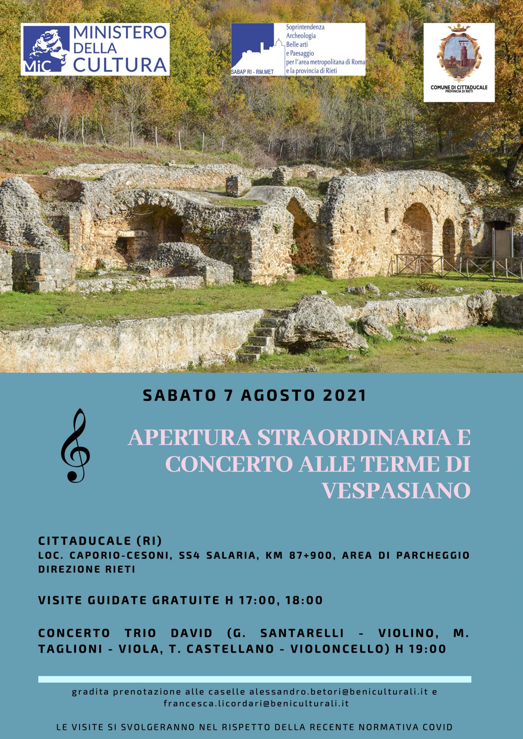 Il 7 agosto apertura straordinaria con concerto alle Terme di Vespasiano a Cittaducale