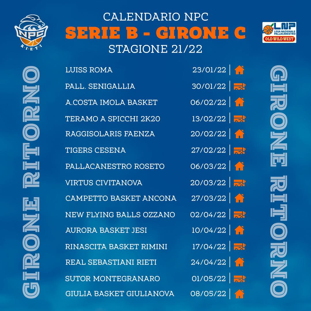 Kienergia Rieti, il calendario del campionato 21/22