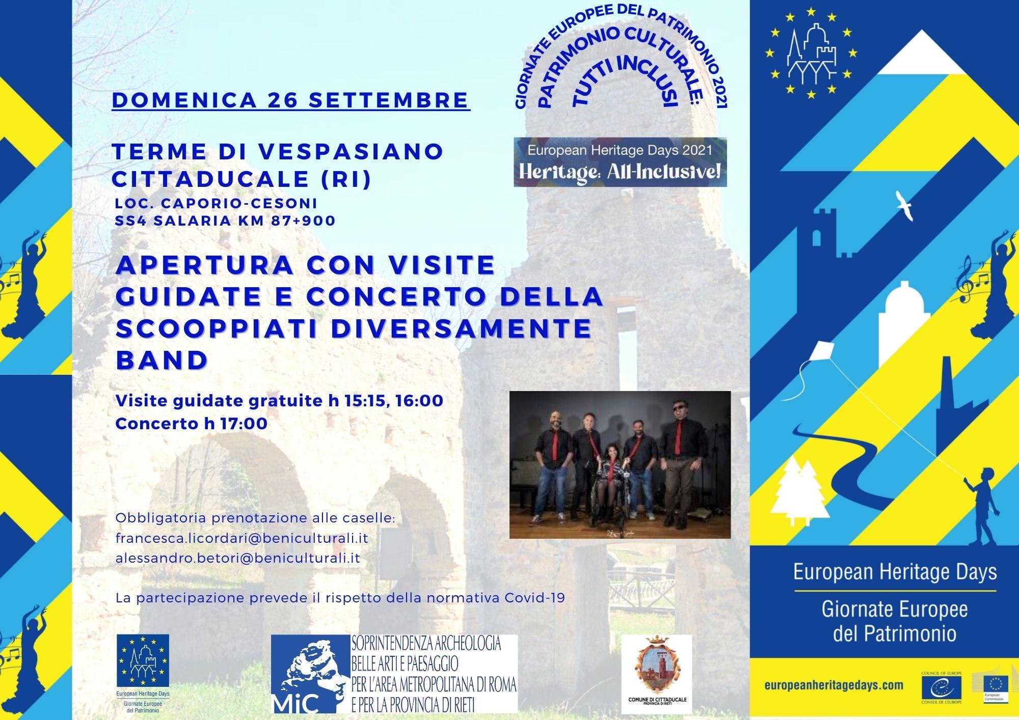 26 settembre: apertura delle Terme di Vespasiano con concerto per le GEP
