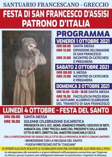 GRECCIO, 4 OTTOBRE FESTA IN ONORE DI SAN FRANCESCO D'ASSISI